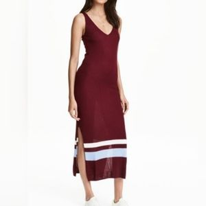 H&M Burgundy Ribbed Maxi Dress with side slits